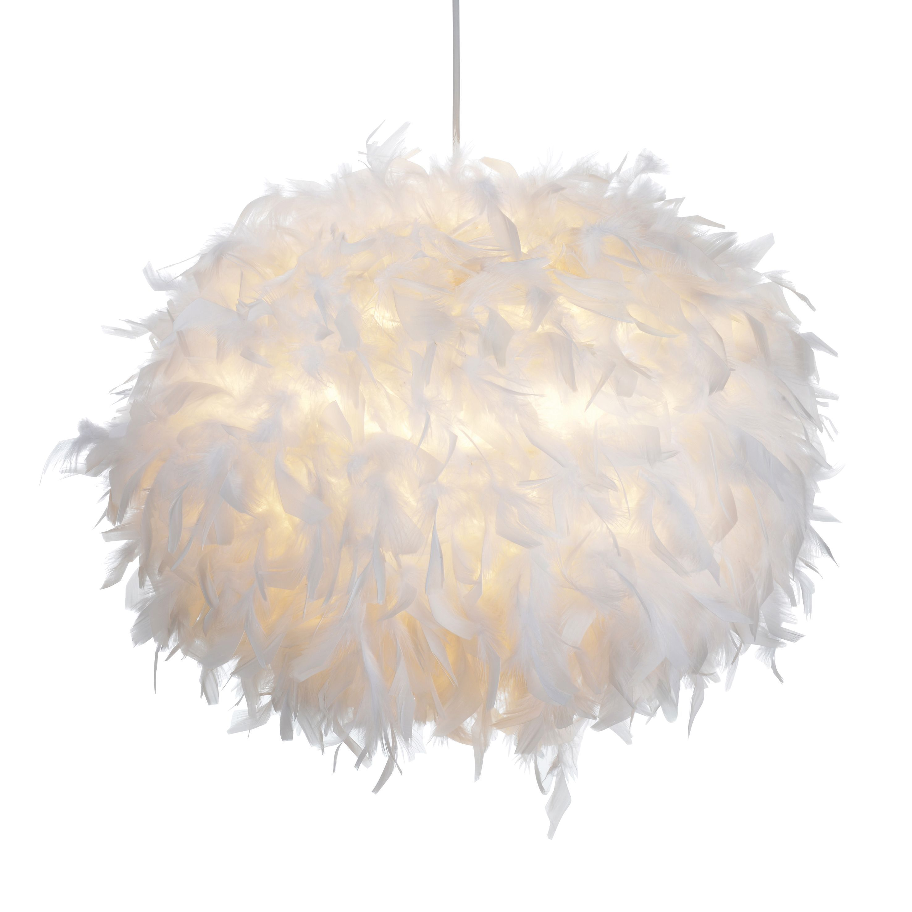 Colours Melito White Feathered Light Shade D 40cm Departments