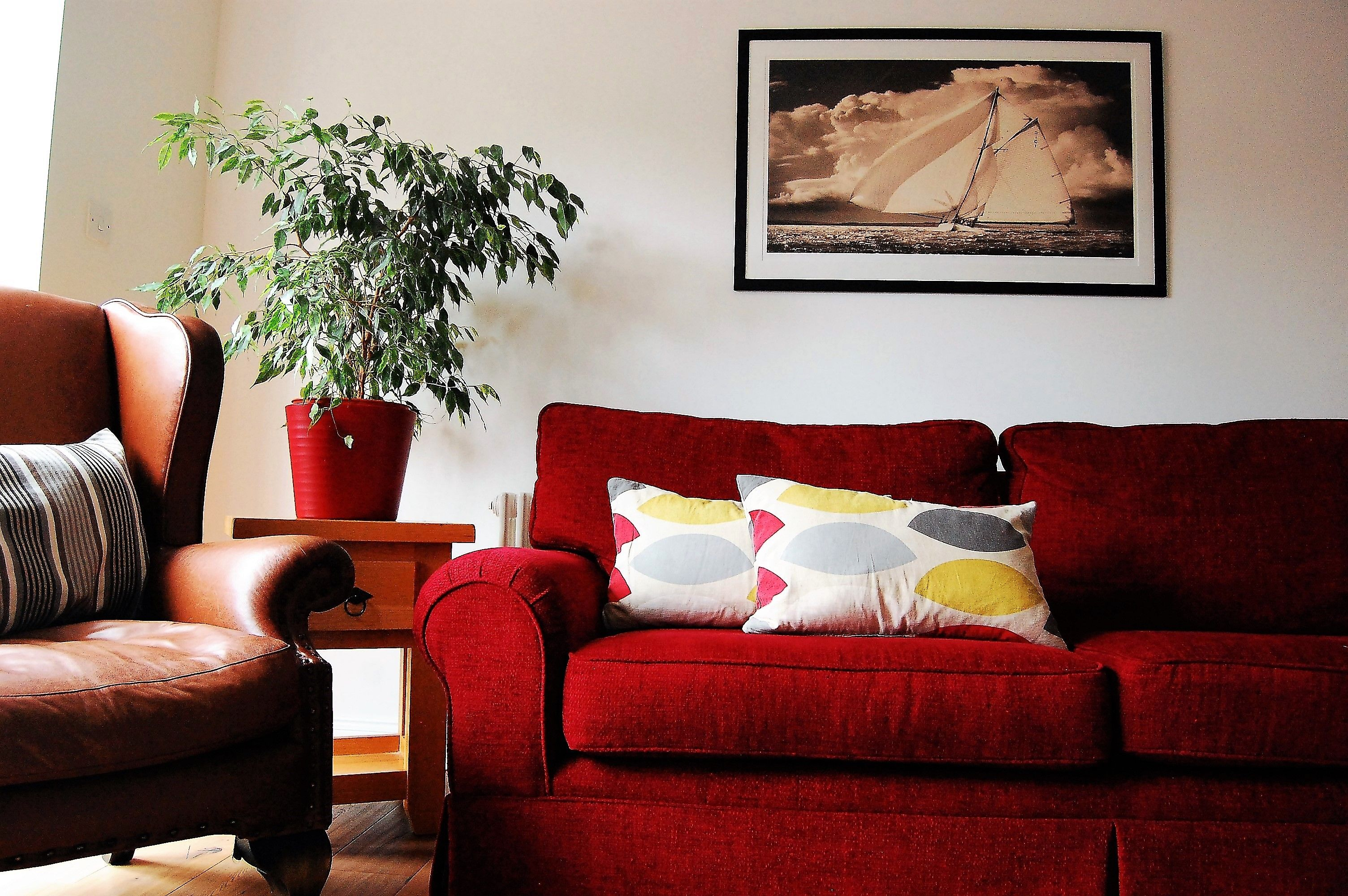 Contemporary meets traditional - red sofa with grey and ...