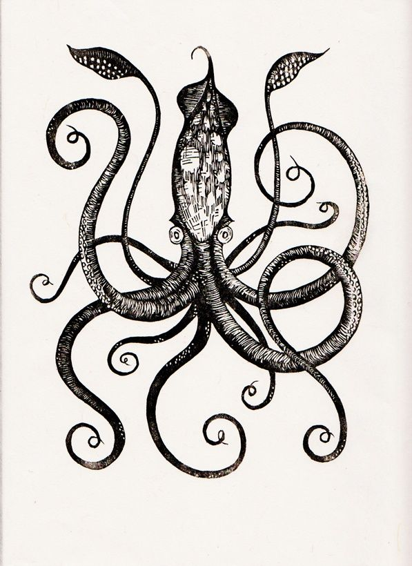 Giant Squid Edition 250 9 X 12 Printed On Handmade Japanese