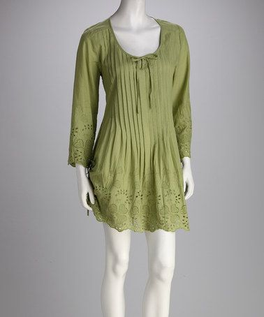 Take a look at this Green Pleated Dress by MONORENO by Mür on #zulily today!