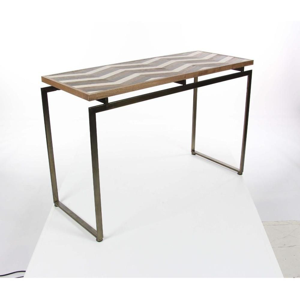 Zig-Zag Finished Wood Metal Console Table