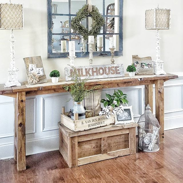 40 Rustic Living Room Ideas To Fashion Your Revamp Around: Farmhouse Foyer Table And Mirror
