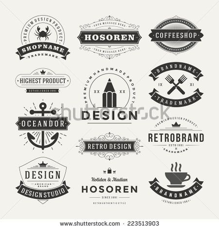 Retro Vintage Insignias or Logotypes set. Vector design elements ...