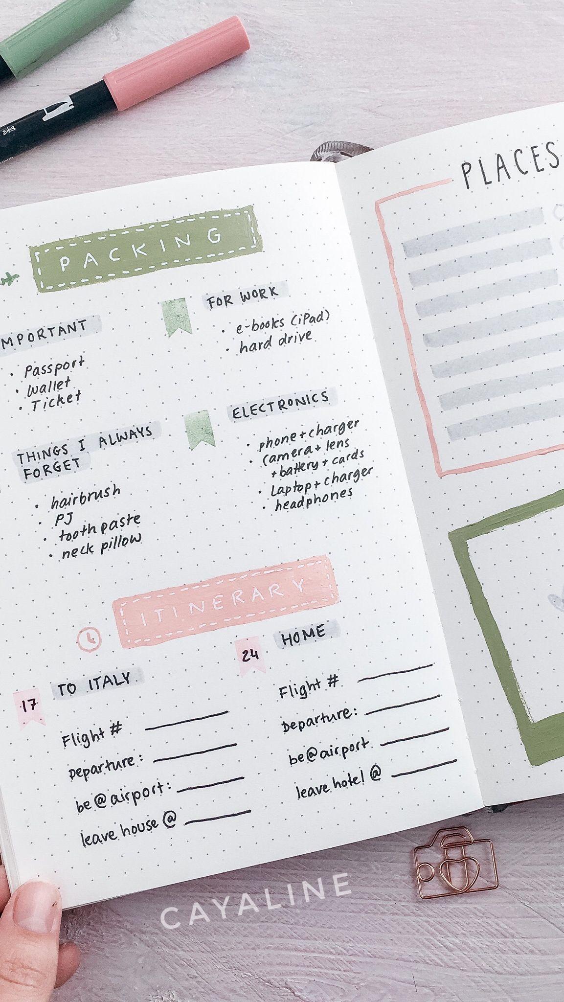 Travel Planner Bullet Journal