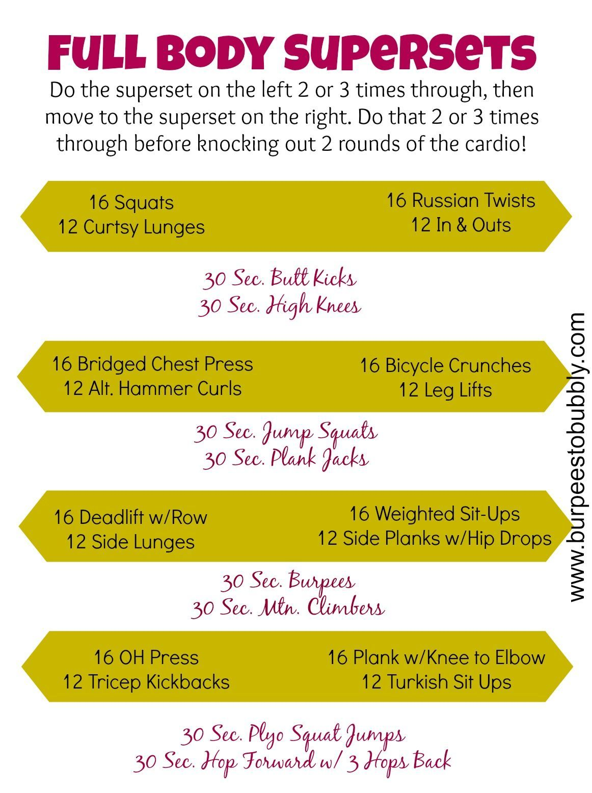 Wednesday Workout Full Body Supersets Fitness Pinterest Superset Circuit Leg Up On