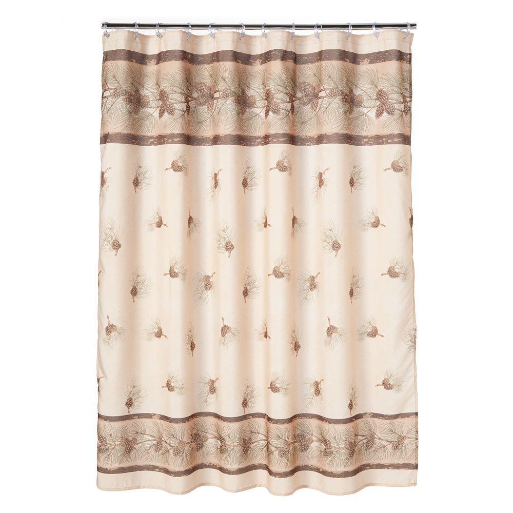 Saturday Knight Ltd Pinehaven Fabric Shower Curtain Multicolor Primitive Bathrooms