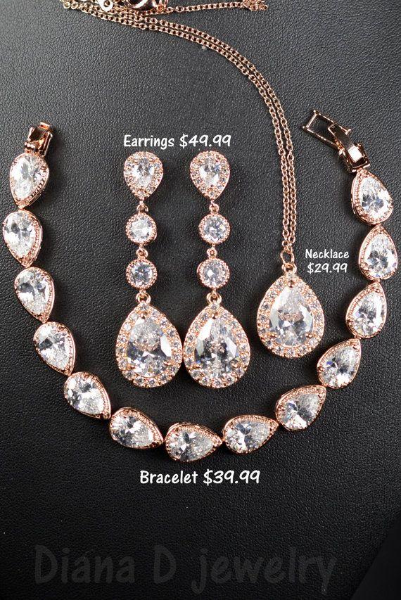 Rose Gold Bridal earrings Wedding jewelry Long Wedding earrings