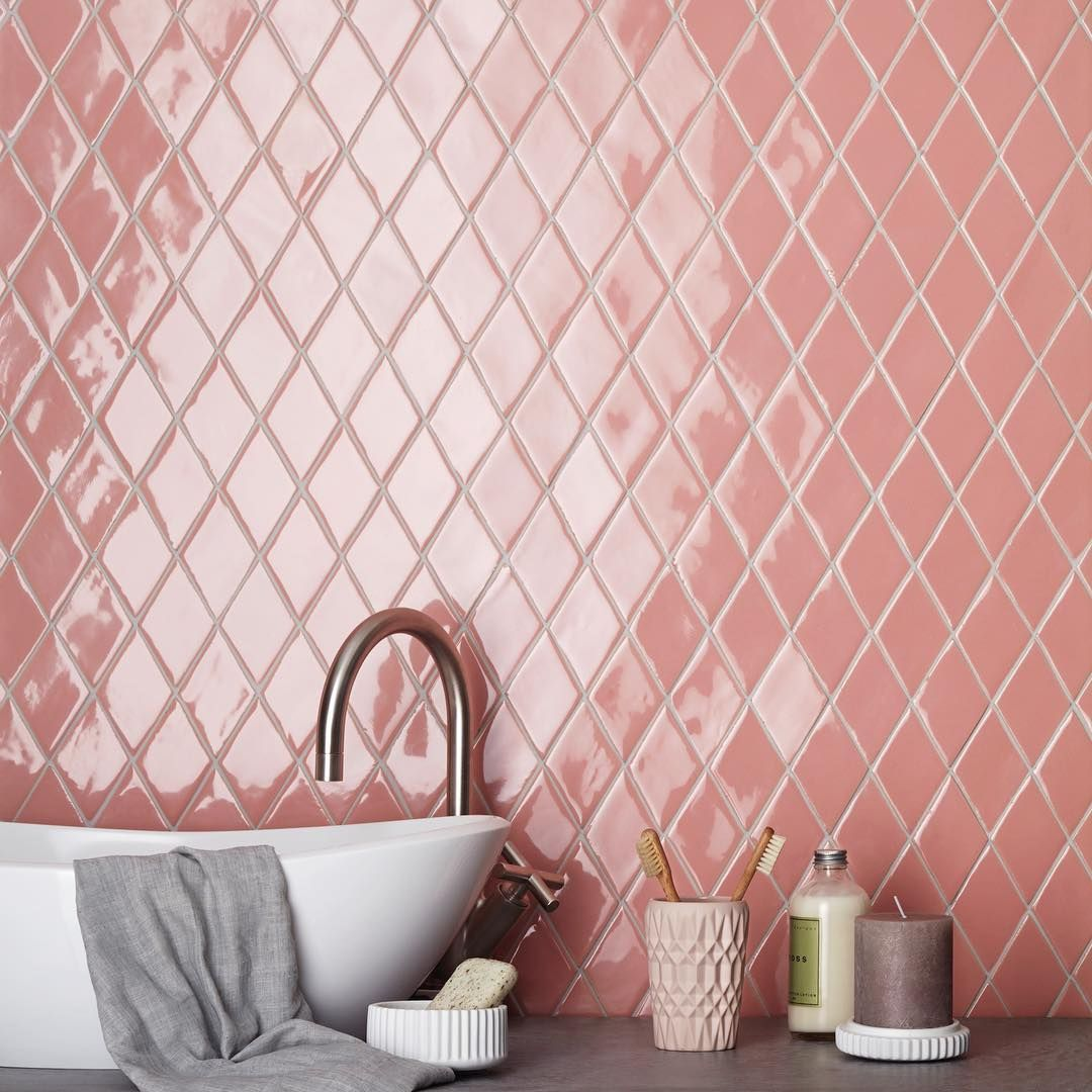 Domustiles On Instagram In A Grid Layout These Pink Diamond New Terracotta Tiles Create A Pink Bathroom Bathroom Interior Design Modern Diy Bathroom Decor