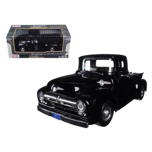 1956 ford f-100 pickup truck black 1/24 diecast modelmotormax