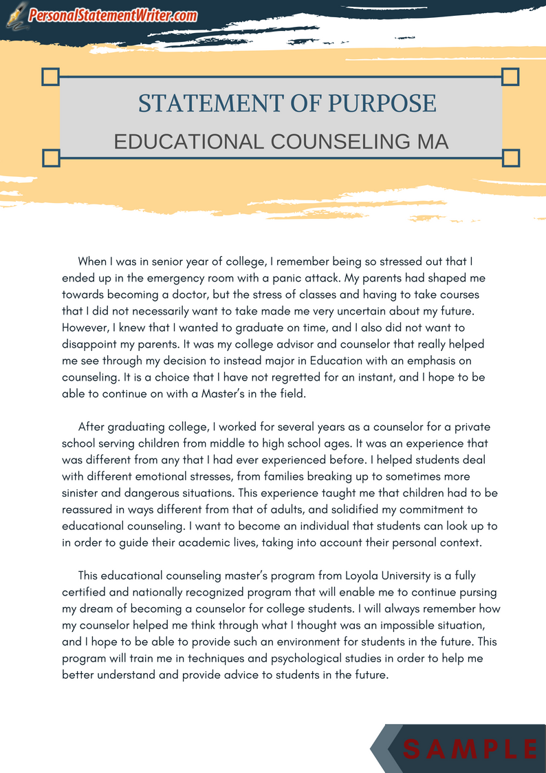 Get Personal Statement For Educational Counselling Ma Sample Master By Following Thi Link Http Example Essay Examples Counselor Mission