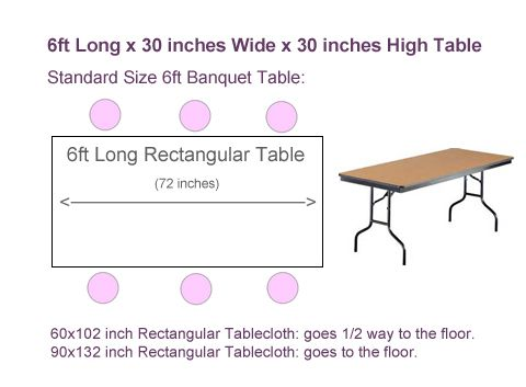 What Size Tablecloth For 6ft Rectangular Table Tableclothsforless