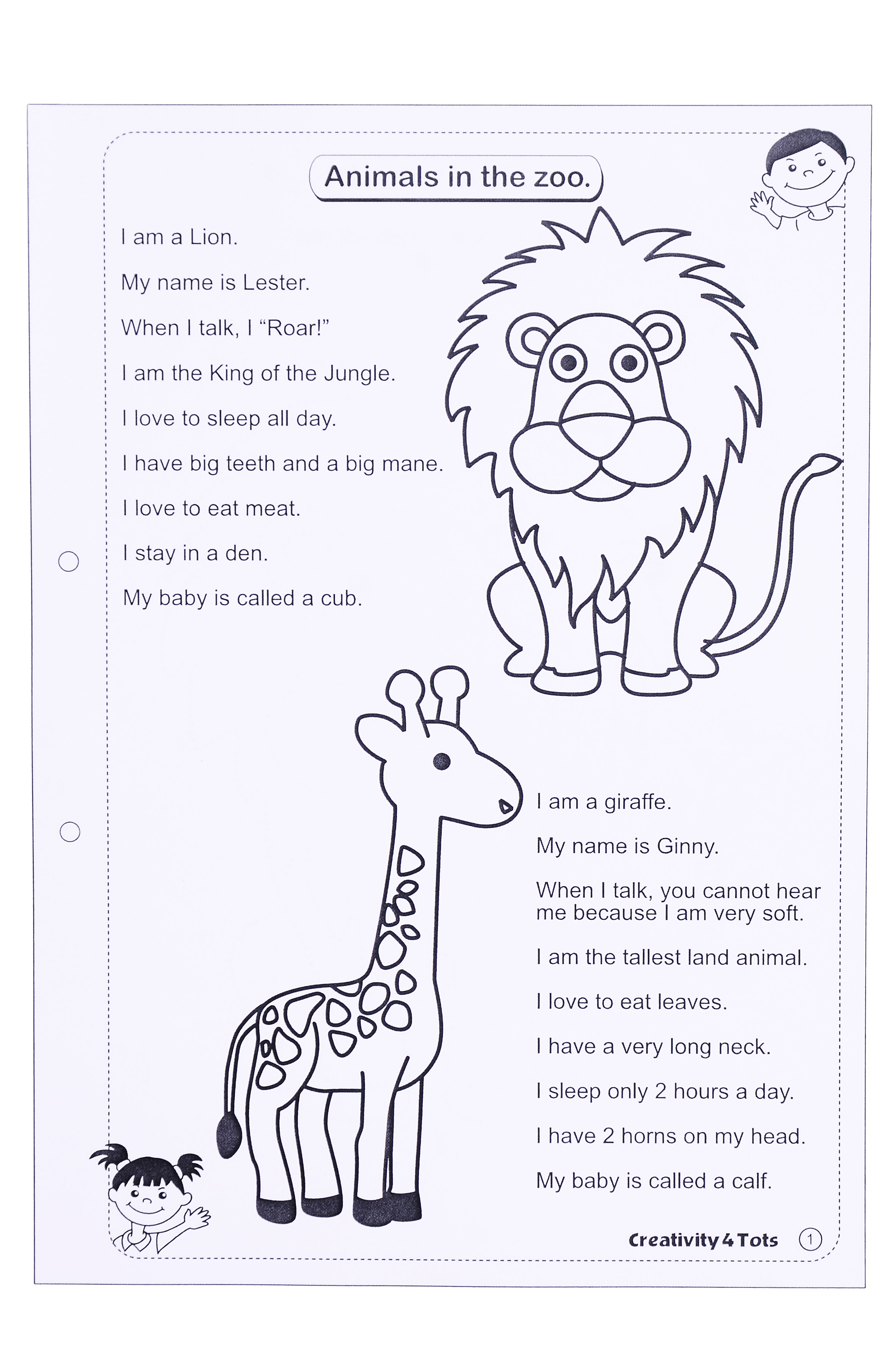 Zoo Animals Worksheet - This worksheet is designed to teach the child about  zoo animals. The worksheet co…   Animal worksheets [ 4928 x 3264 Pixel ]