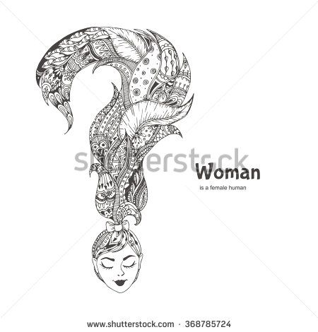 woman hand drawn woman s head and a question mark hair with ethnic