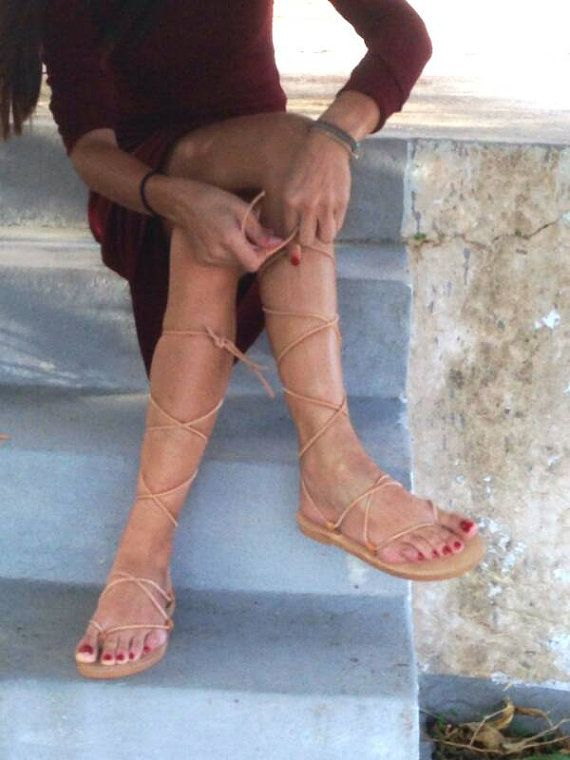 New tie up lace up gladiator sandals! Greek sandals! Handmade women s real  leather flat sandals!Adjustable straps!Gladiator Sandals