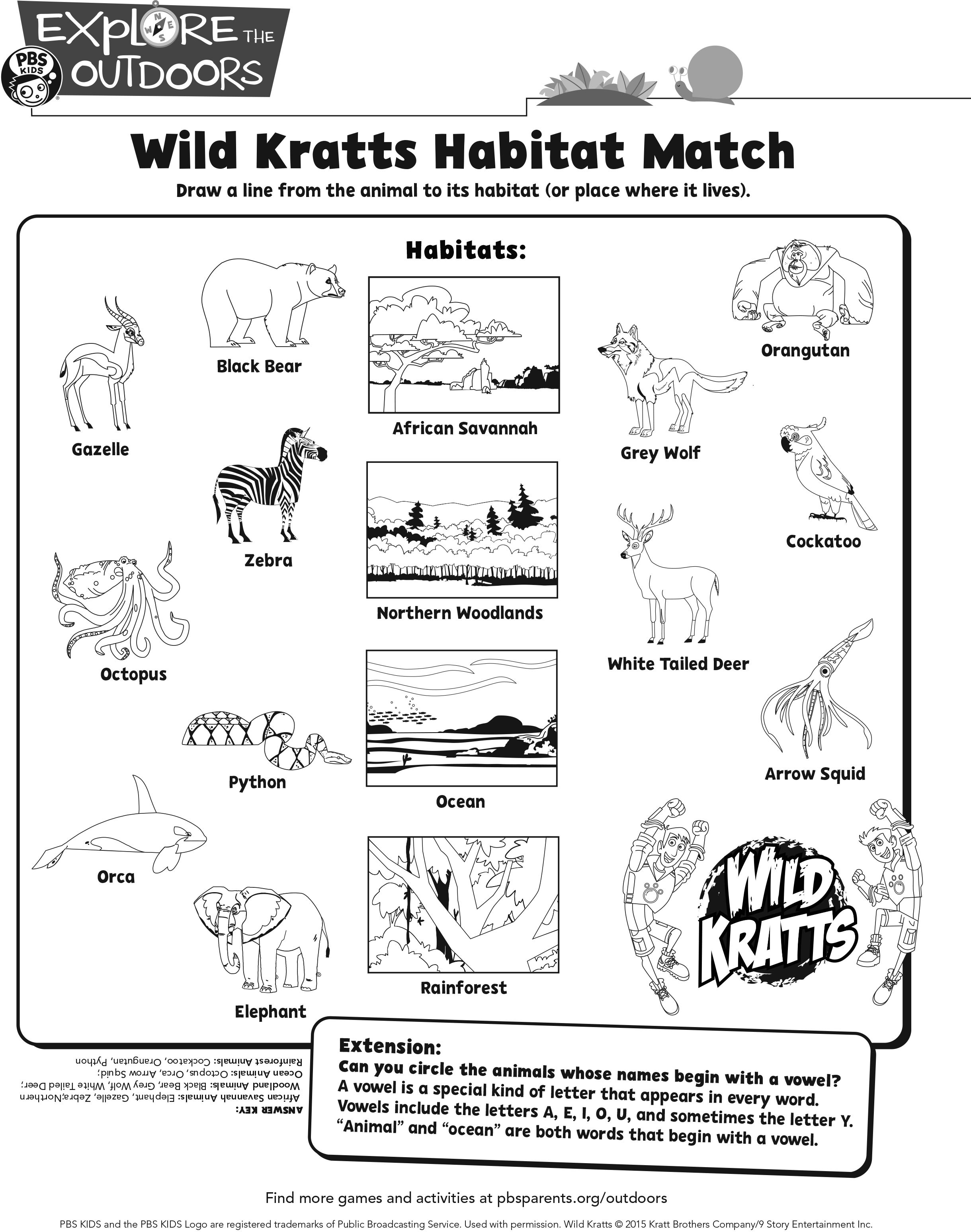 Match The Animals To Their Habitat In This Wild Kratts Activity Sheet Wildkratts Printable