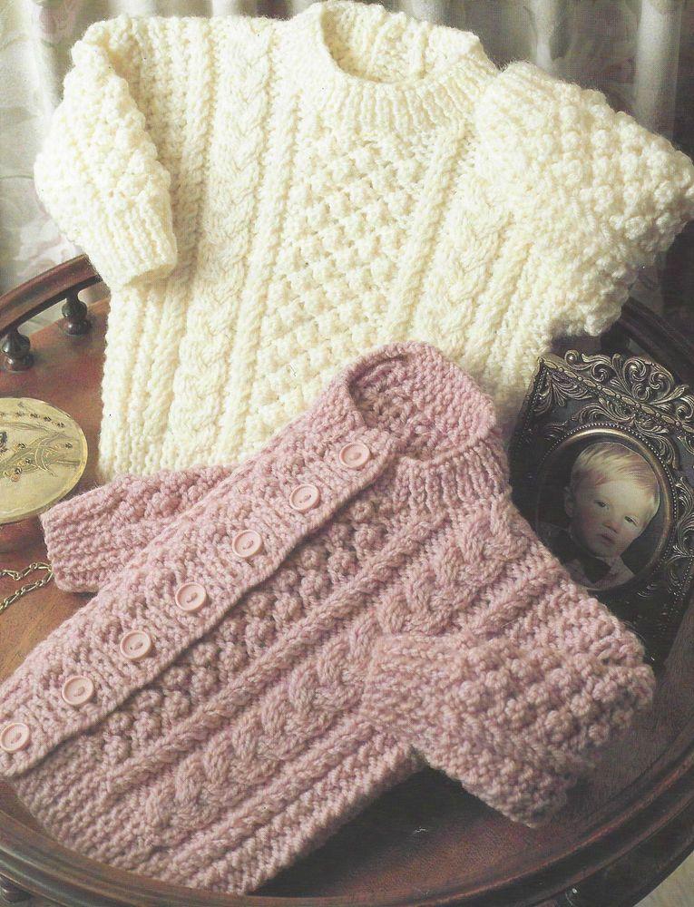 Baby Knitting Pattern Aran Sweater & Cardigan 16-22\