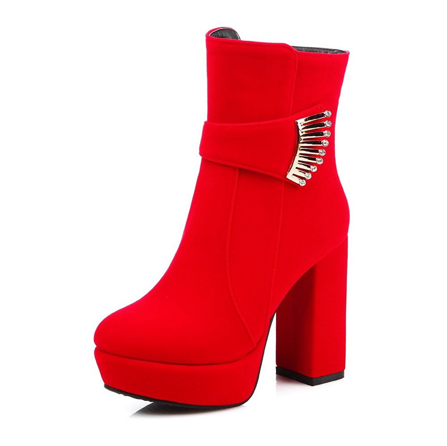 Women's Round Closed Toe Zipper Imitated Suede Solid High Heels Boots