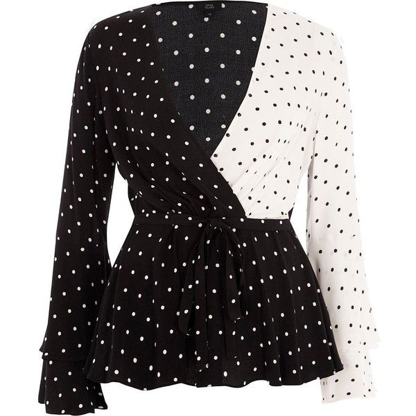 300713caf1 River Island Black block polka dot wrap tie waist blouse ( 70) ❤ liked on  Polyvore featuring tops