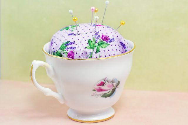 DIY No Sew Teacup Pincushion via Hopeful Honey