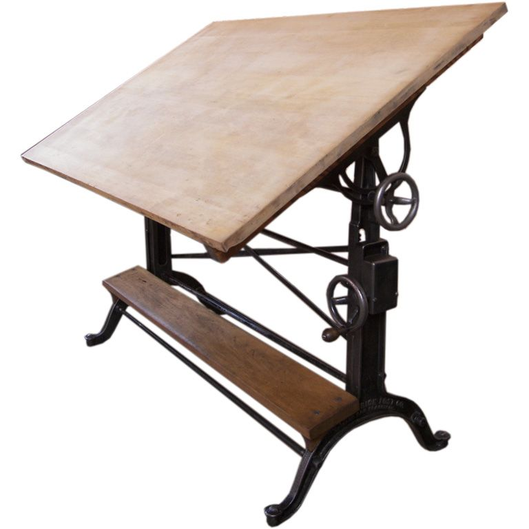 Vintage Cast Iron Wood Drafting Table By The Frederick Post Co