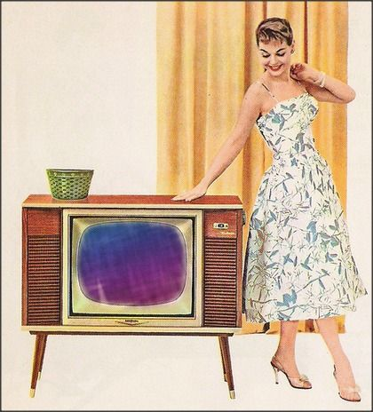 1960s black and white rca tv : We had this very set with a telemeter system attached to it. In order to watch tv you had to insert a quarter (per hour) or the television signal would automatically scramble. This is how mom paid the finance bill for the set. Ha ha the first Pay Per View!