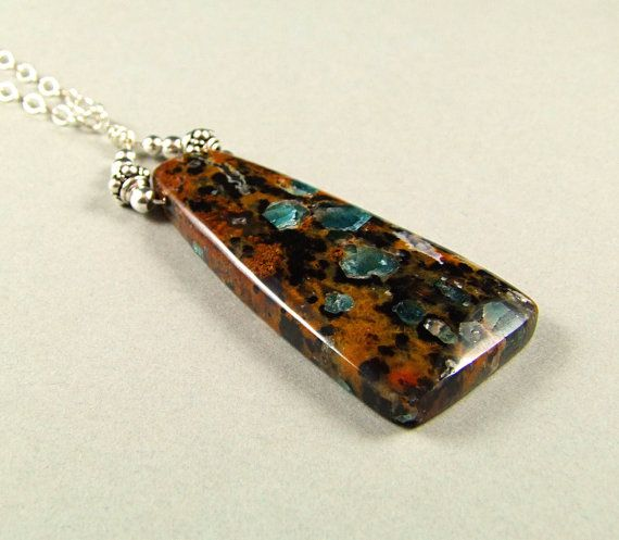 Petrified Wood with blue Apatite Crystals by TheSilverBear on Etsy, $92.00
