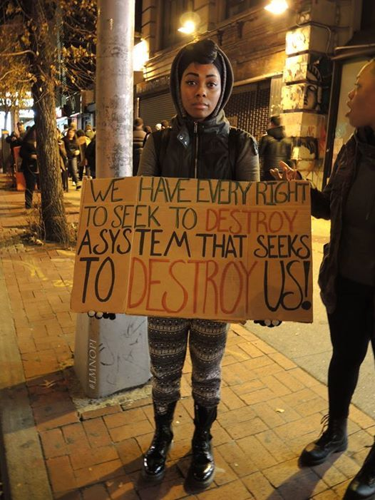 """""""We have every right to seek to destroy a system that seeks to destroy us!"""" Photo credit: (http://jmichealortiz.tumblr.com/post/103878503564) Does anyone know where this picture was taken?"""
