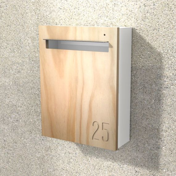 Modern Mailbox Javi Custom Wall Mounted Letterbox White Aluminium Body Stainless Steel Visor And Hardware Timber Front Modern Mailbox Letter Box Custom Wall