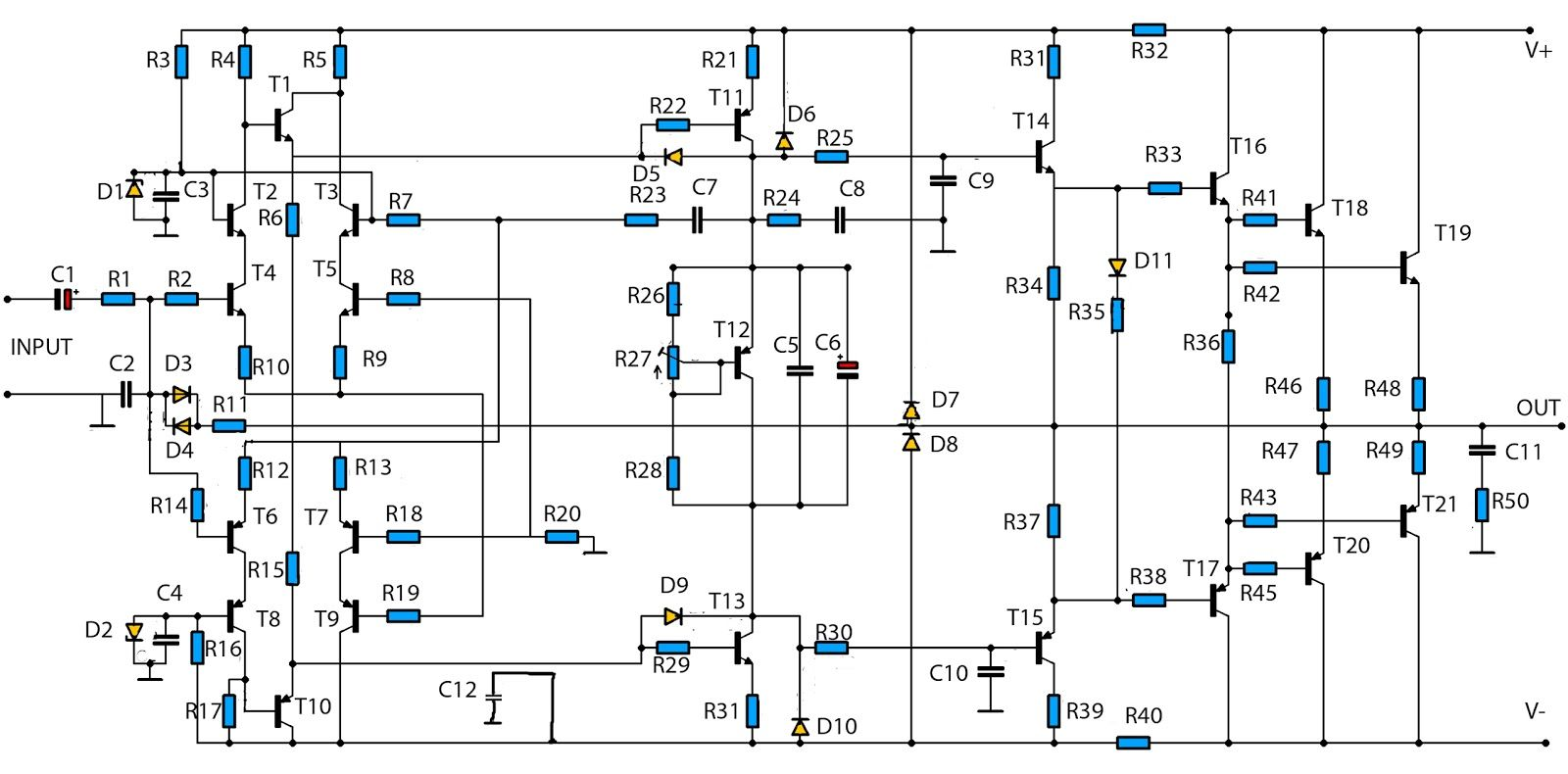 simple audio amplifier 2800w circuit diagram electronic circuits 2800w high power amplifier circuit updated  [ 1600 x 790 Pixel ]