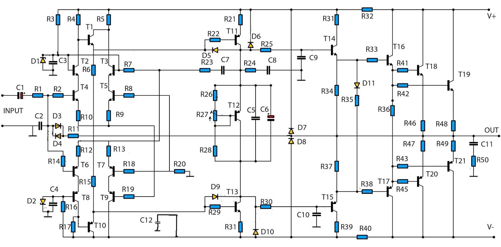 W High Power Amplifier Circuit Updated
