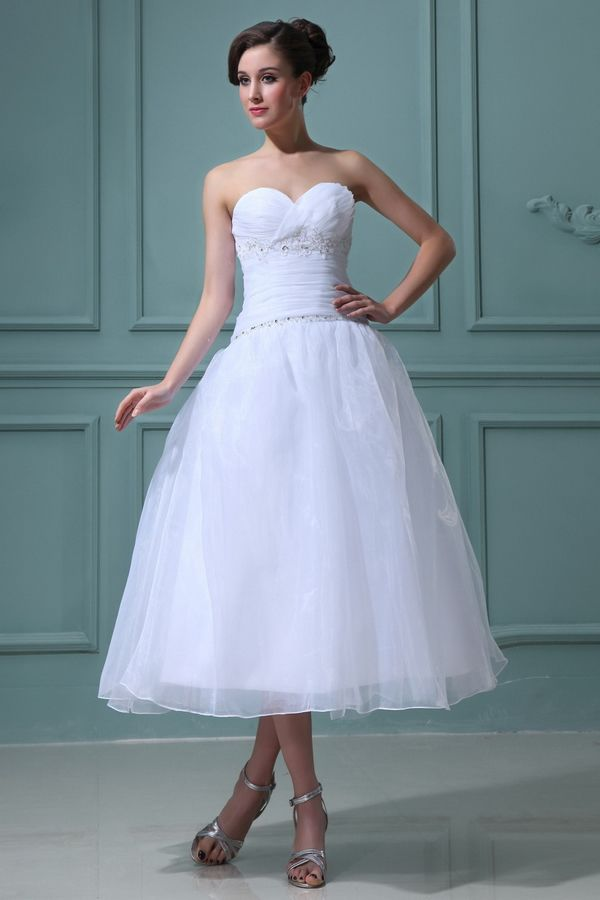 Sweetheart Modern White Bridal Dresses - Order Link: http://www.theweddingdresses.com/sweetheart-modern-white-bridal-dresses-twdn3425.html - Embellishments: Beading,Ruffles; Length: Tea Length; Fabric: Organza; Waist: Dropped - Price: 156.9USD