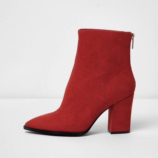 Women's Vintage Chain Back Zipper High Block Heels Pointed Toe Short Boots