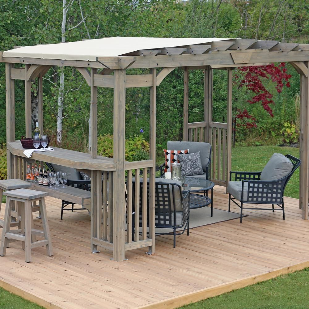 Yardistry 10 Ft X 14 Ft Madison Pergola With Bar And Sunshade Ym11783 The Home Depot In 2020 Backyard Pergola Pergola Plans Wood Pergola