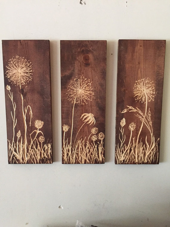 Three hanging wild flower carved wood and stained wood wall art 20 X 7.25wide #stainedwood Three hanging wild flower carved wood and stained wood wall art 20 X 7.25wide #stainedwood