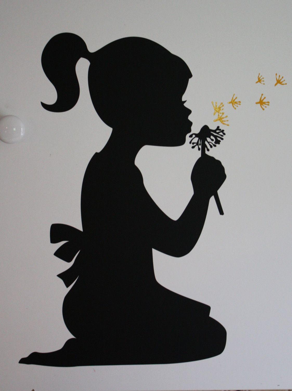 Silhouette girl blowing dandelion - vinyl wall design ...