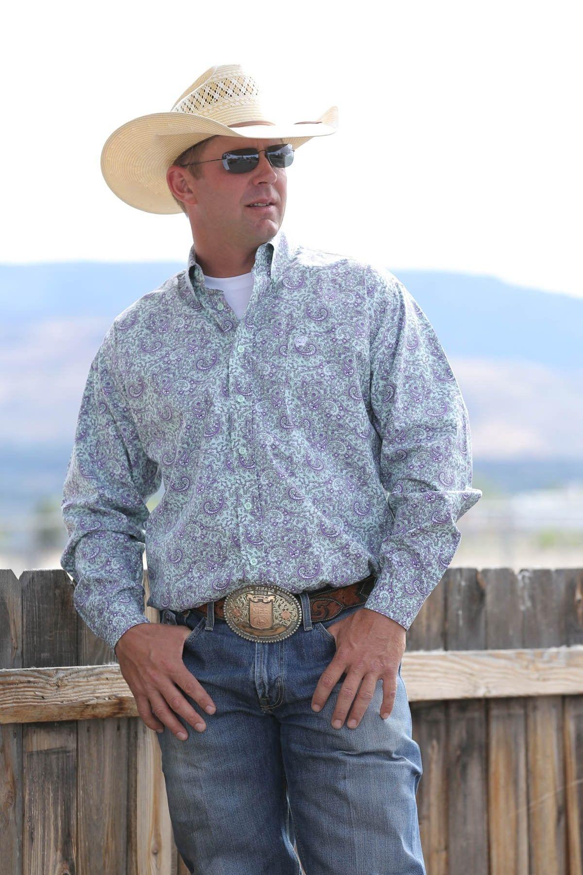 Cinch® Men's L/S Lime and Purple Paisley Button Shirt