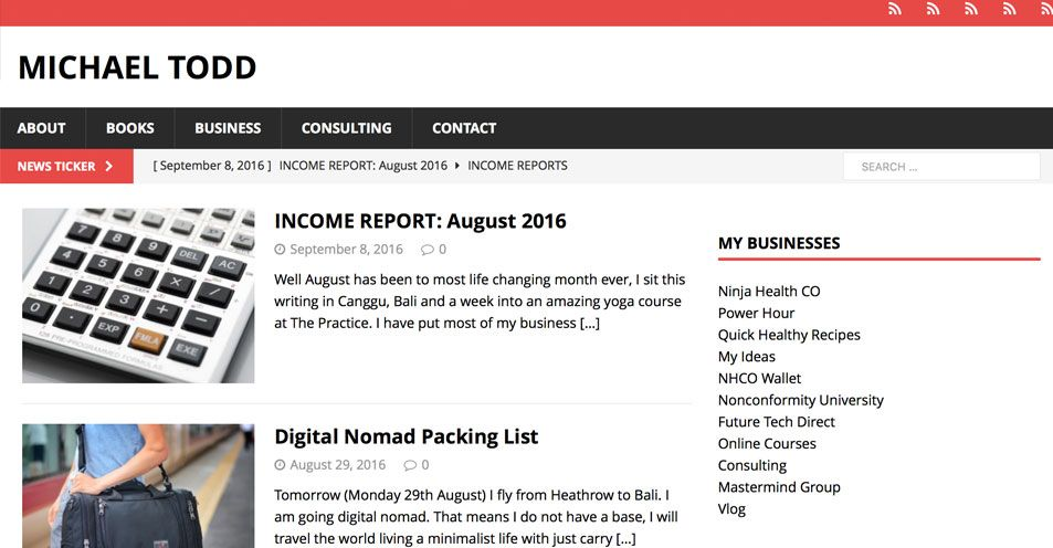 Michael Todd October 2016 Blogging Income Report Blogger Income - consulting report