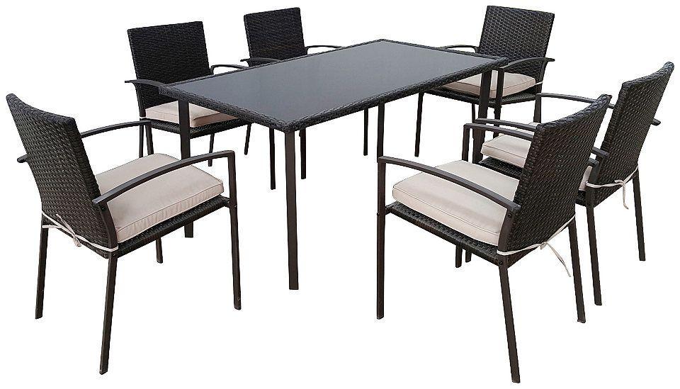 GREEMOTION Gartenmöbel-Diningset »Palermo«, 13-tlg., 6 Stühle, Tisch ...