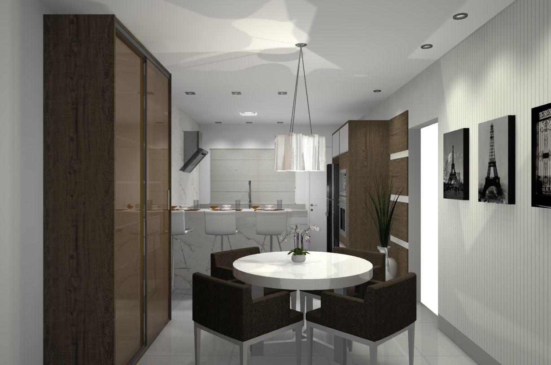 Cozinha e sala de jantar integradas. A bancada de alvenaria marca a divisão dos ambientes. Cristaleira com frentes em vidro Refleto conferem elegância e aconchego à sala de jantar.
