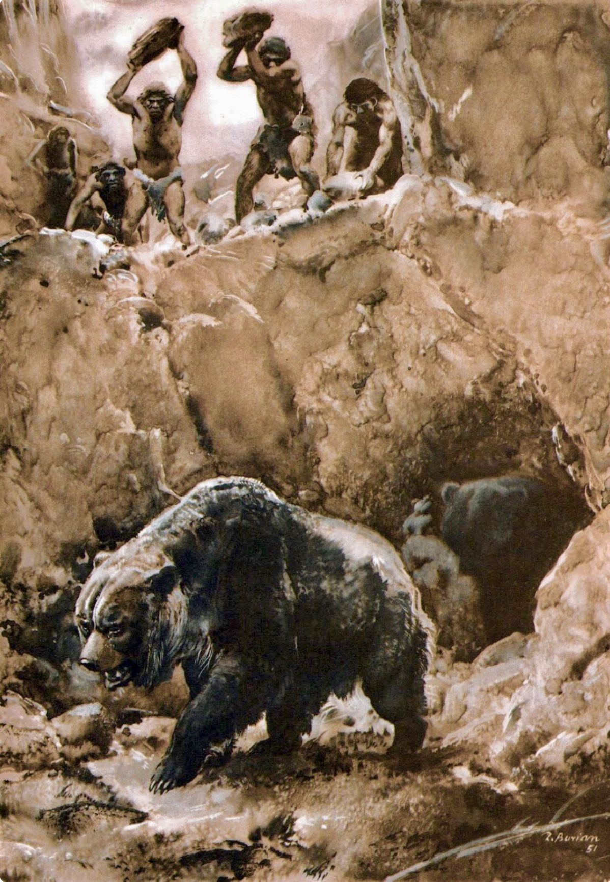 Ice Age hunters attempting to kill a cave bear. The cave