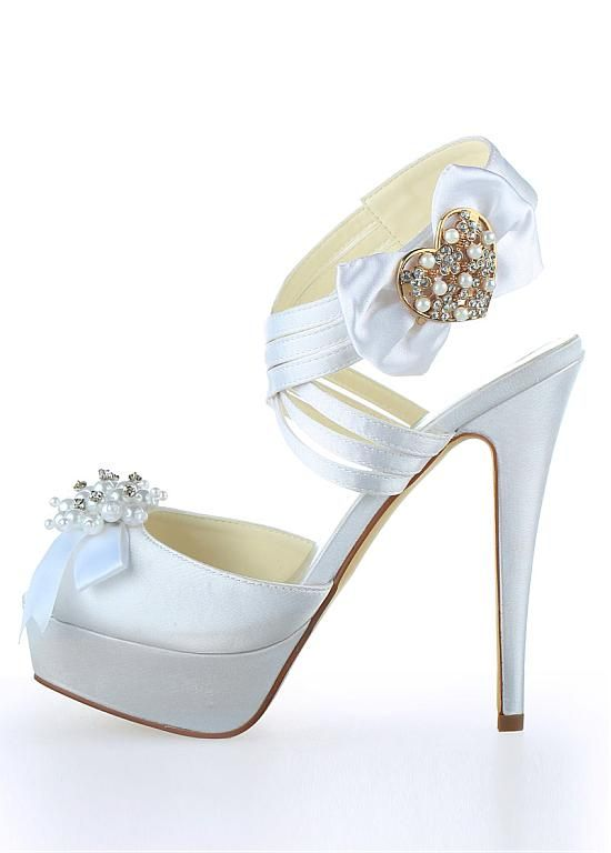 9c6e7fcaf2ba Chic Satin Upper Peep Toe Stiletto Heels Bridal Shoes With Rhinestones And  Bowknot Wholesale Shoes