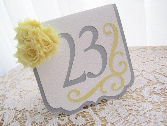 Yellow Gray / Grey and White Table Numbers par AspenWeddingDesign, $7.50