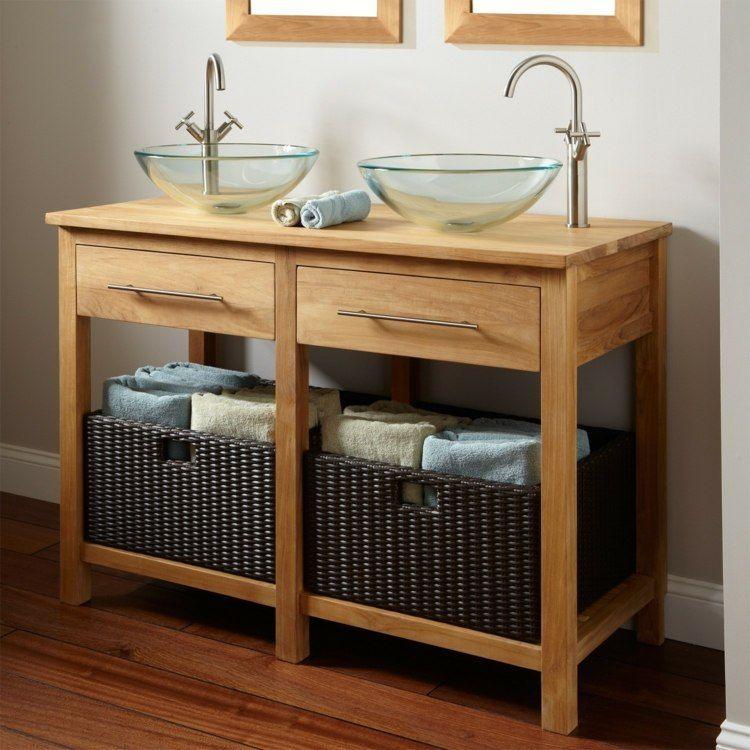Für Das Kleine Bad Und Zwei Waschbecken Einen Waschtisch