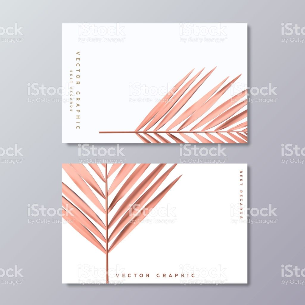 Rose Gold Palm Foil Business Card Templates Minimalist Postcard Foil Business Cards Postcard Design Business Cards Creative