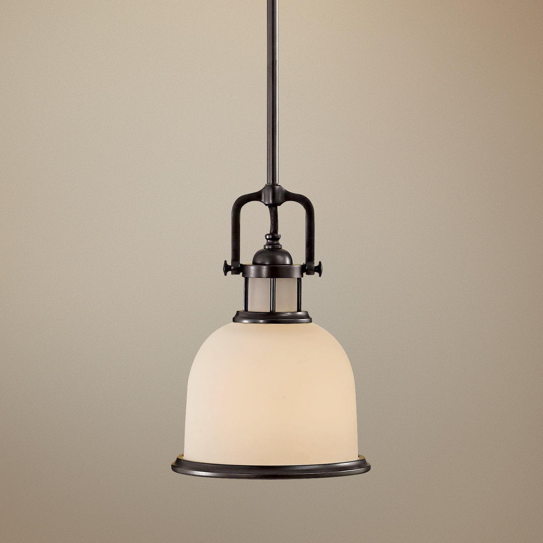 "Feiss Parker Place Dark Bronze 8"" Wide Mini Pendant Light"