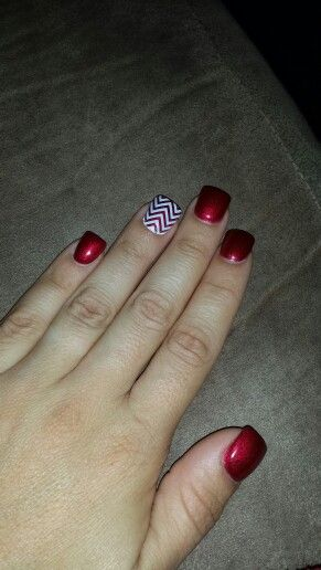 Gel nails with jamberry chevron