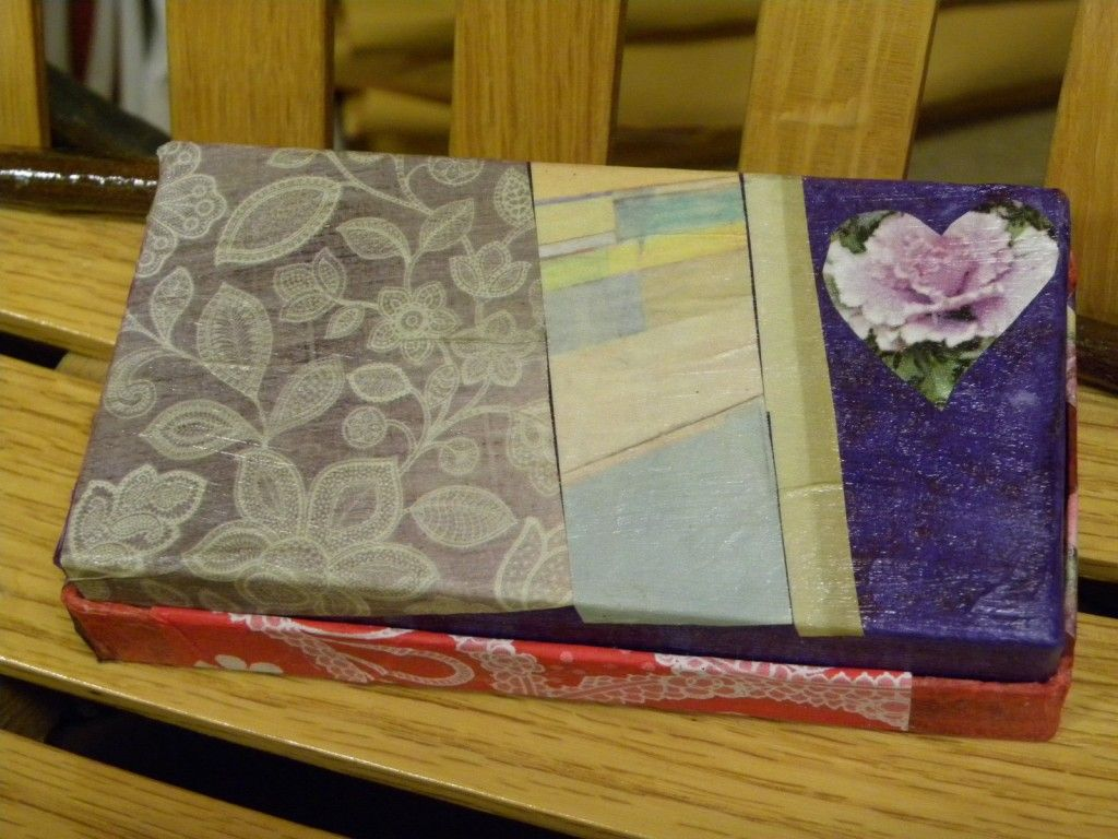 DIY decoupage gift box, with a mix of fancy tissue papers