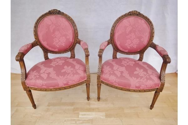 French Louis XV Carved Mahogany Armchairs | Vinterior London  #vintage #pink #furniture #home