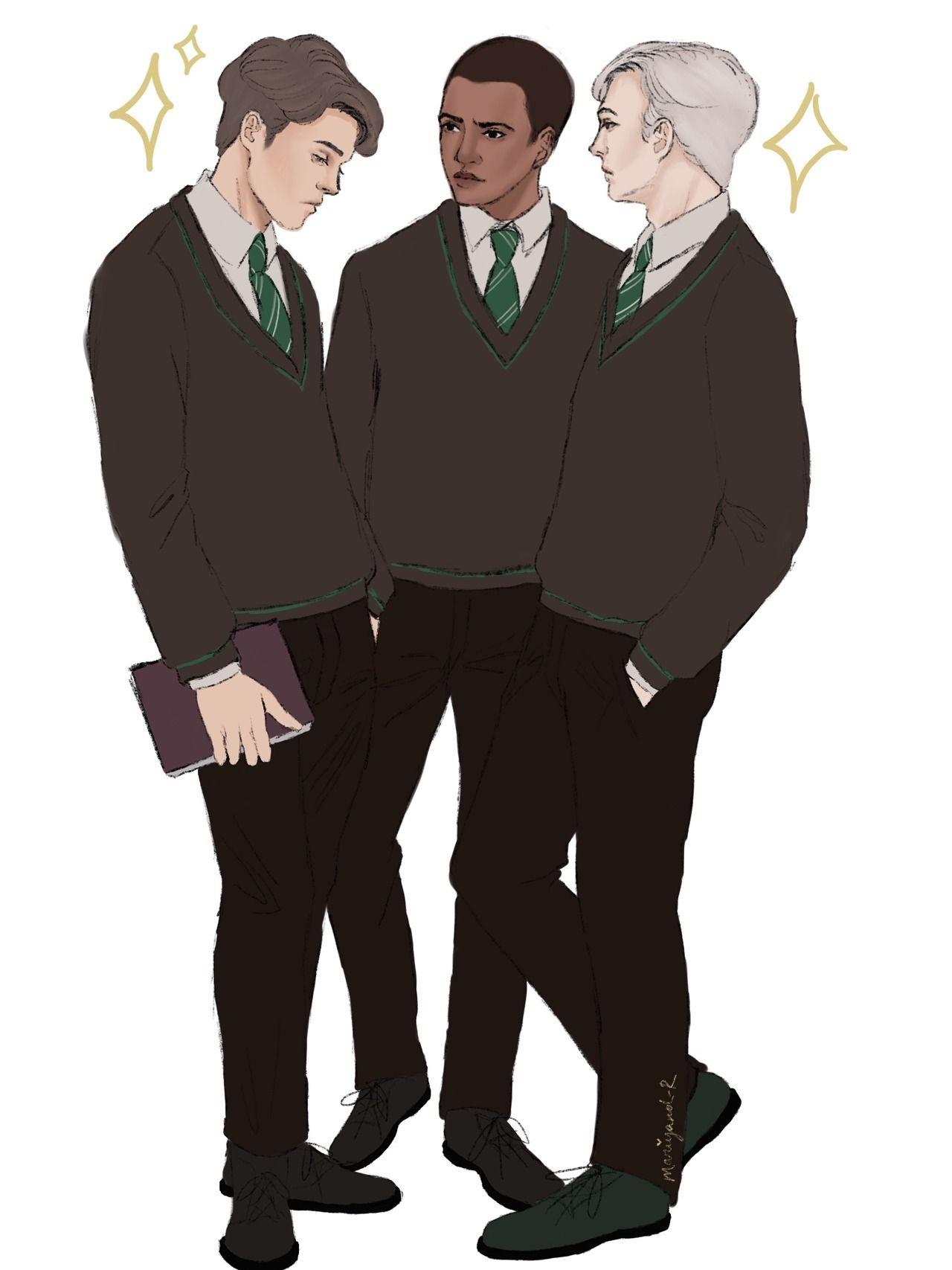 Slytherins We Play To Win Theo Nott Blaise Zabini Draco Malfoy Harry Potter Artwork Harry Potter Painting Harry Potter Fan Art