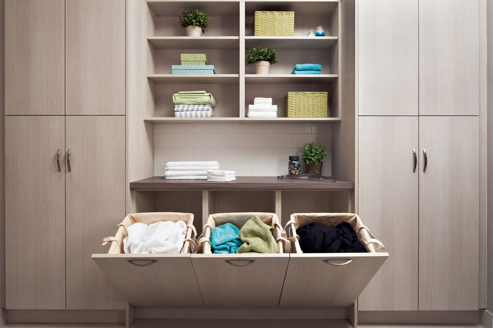 Laundry Hamper Laundry Room Contemporary With Built In Storage